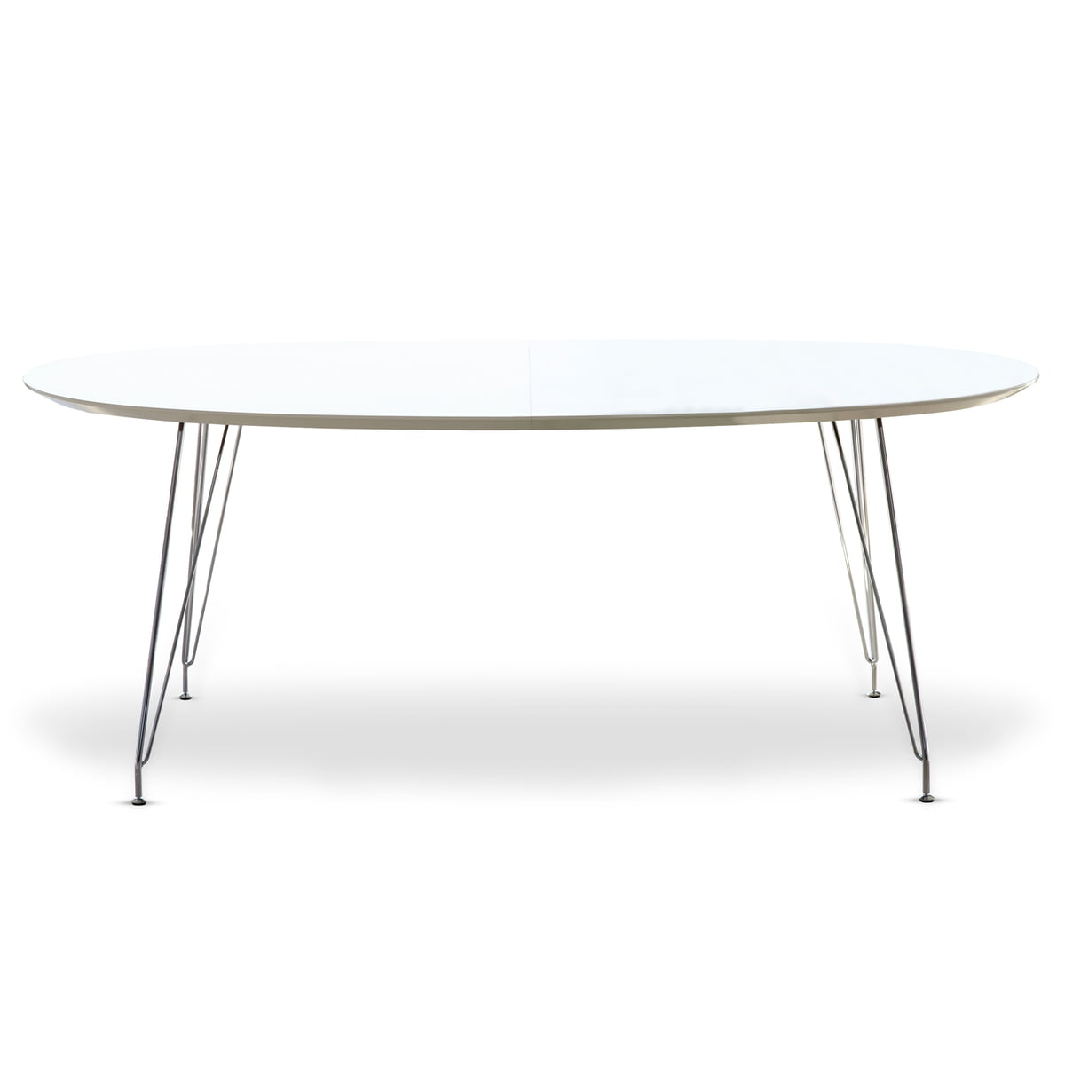 Eettafel Uitklapbaar Wit.Andersen Furniture Dk10 Uitschuifbare Tafel Ovaal Verchroomd Wit