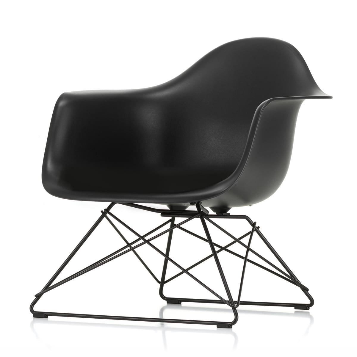 Vitra Eames plastic fauteuil lar, basic dark diep zwart (viltglijders basic dark)