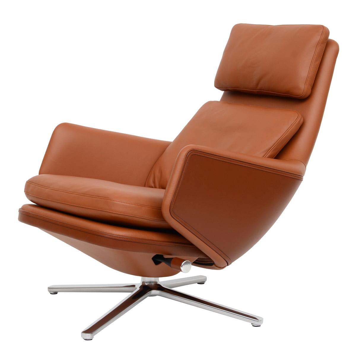 Fauteuils Relax Leer.Vitra Grand Relax Fauteuil Gepolijst Aluminium Premium Cognacleer Viltglijder
