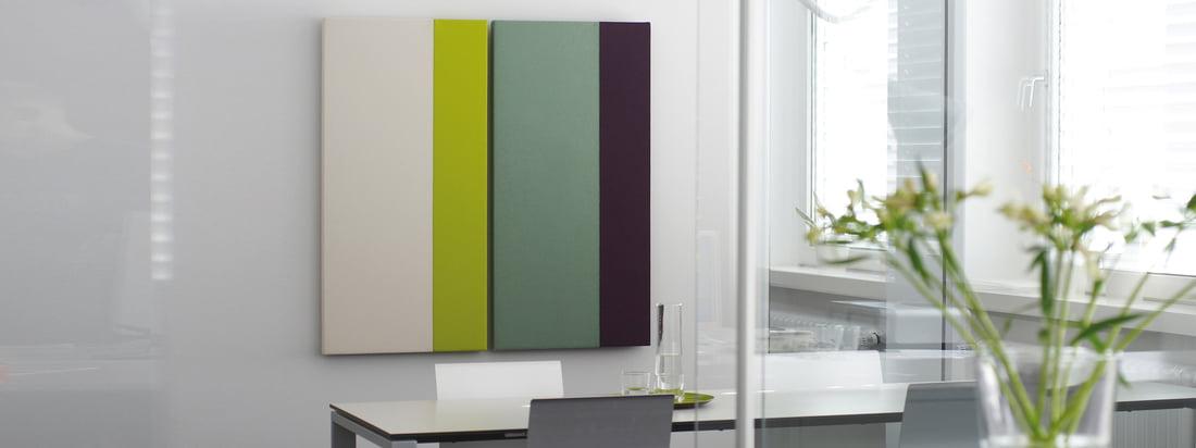 Acousticpearls, een ontwerpbureau uit Bremen, produceert akoestische panelen met verschillende kleurencombinaties. De wanddecoratie is verkrijgbaar als rechthoek en vierkant.