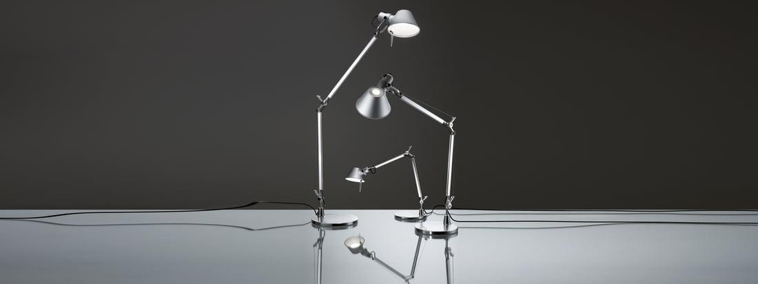 Artemide is een bekende fabrikant van lampen. De Tolomeo Lampen hebben een beweegbaar aluminium frame en zijn verkrijgbaar in verschillende maten - ze kunnen worden gebruikt als bureau en als vloerlamp.