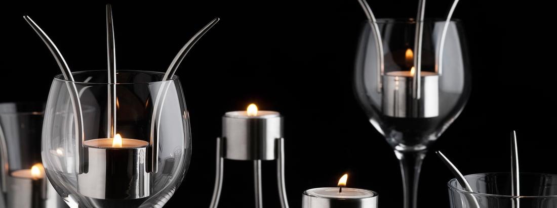 Geboren in Zweden is de producent van de innovatieve theelichthouder die ook als tafellantaarn in een wijnglas kan worden gebruikt. Expressief design en discreet licht.