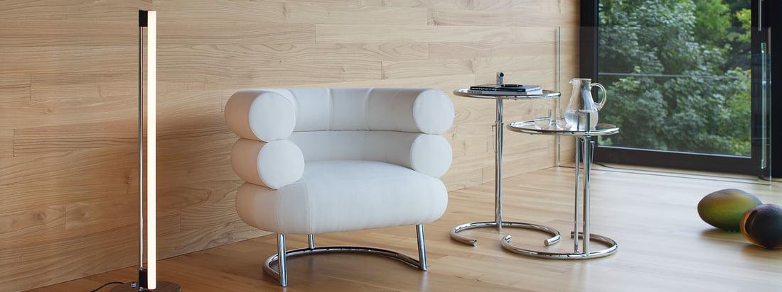 Het merk ClassiCon produceert meubels en lampen. De verstelbare tafel, de Bibendum fauteuil en de Tube Light LED vloerlamp creëren een nobel design in uw huis.