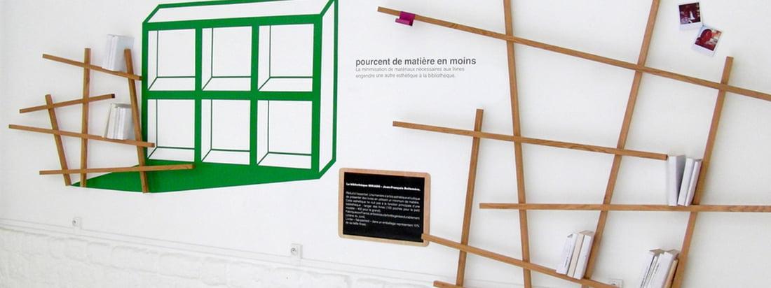 Edition Compagnie werd opgericht door Jean-François Bellemère. De Mikado Bookshelf, samengesteld uit dunne houten balken, is op een verwarrende manier ontworpen. Verkrijgbaar in de winkel!