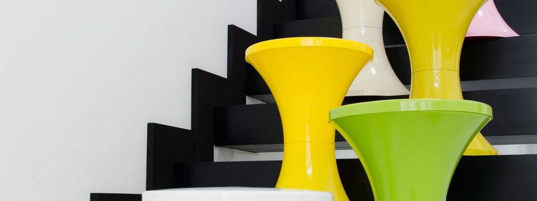 Het Franse bedrijf Branex Design produceert de cultus Tam Tam Tam Stool in verschillende heldere kleuren zoals geel en groen. Hier in de designwinkel verkrijgbaar!
