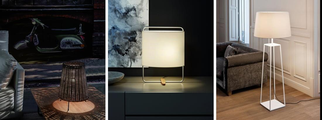 Carpyen is een Spaanse lampenfabrikant. De Totora Ground Light is verkrijgbaar met een rode lampenkap die een sinistere sfeer oproept voor een donkere muur.