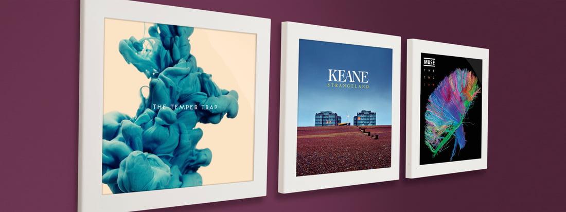 Het Flip Frame van Art Vinyl maakt het eenvoudig wisselen van een plaat of een cover mogelijk. Naast elkaar aan de muur worden de collector's items op een indrukwekkende manier gepresenteerd.