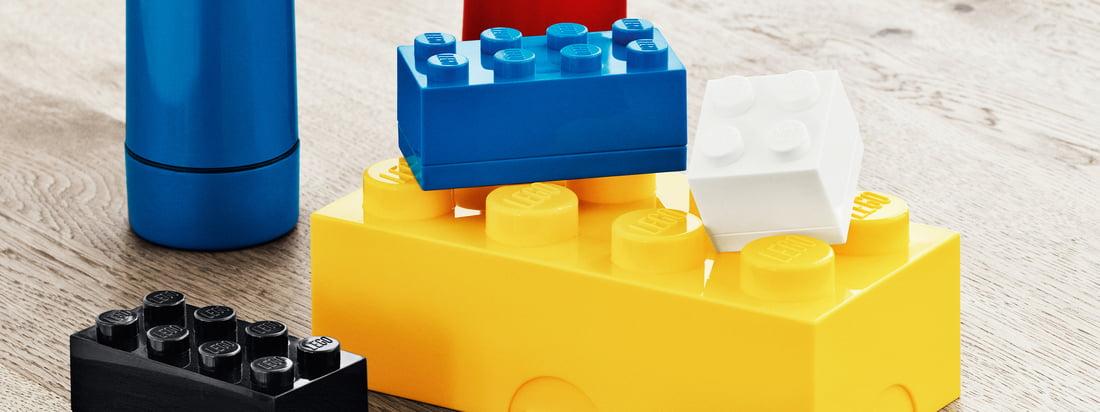 Het lunchsysteem van Lego bestaat uit kleurrijke lunchboxen, minidoosjes en waterflessen in Lego-optiek.