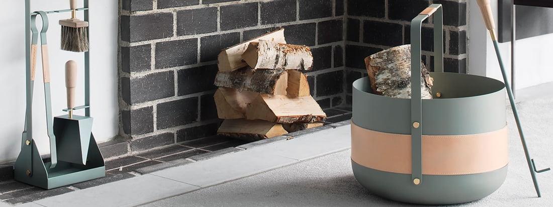 Eldvarm produceert accessoires voor de open haard in scandinavische stijl. De ronde Wood Basket Emma is samengesteld uit metaal en dient als stijlvolle opslag voor brandhout.