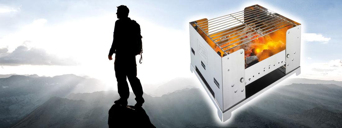 """Esbit is de afkorting voor """"Erich Schumms Brennstoff in Tablettenform"""". De Foldable BBQ300S is een praktische, opvouwbare barbecue voor onderweg. Koop in de designwinkel!"""