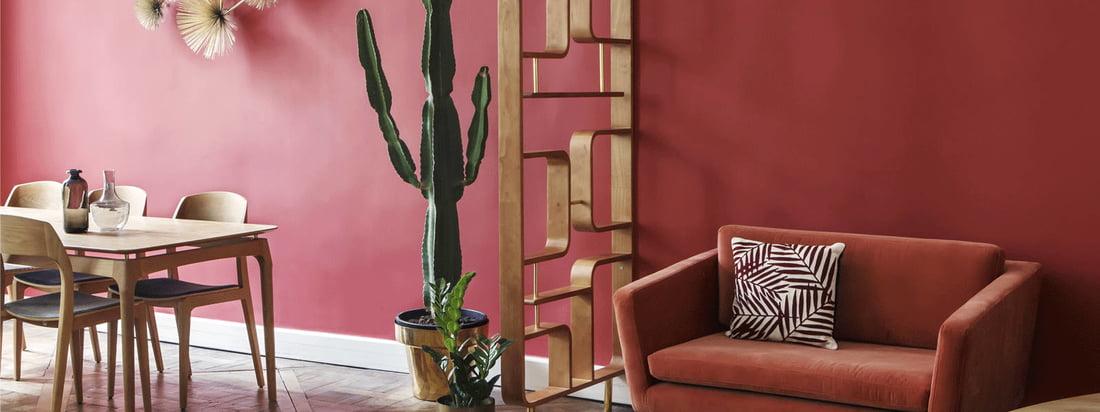 De scheidingswand en scherm per rode editie is een decoratief element als kamerscherm en past bijzonder goed bij de meubels uit de Fifties Collectie per rode editie.