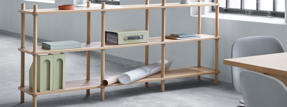 Normann Copenhagen - Jam Bücherregal L 203 cm, Eiche / grau