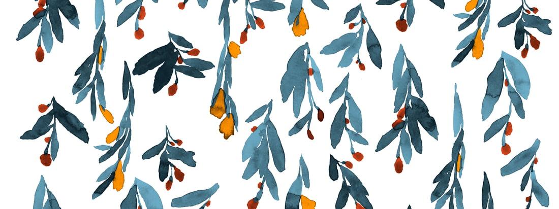 De delicate aquarelkleuren van de bloemen en bladeren lijken soepel te lopen en geven het Hyhmä-patroon van Marimekko zo'n dynamische uitdrukking.