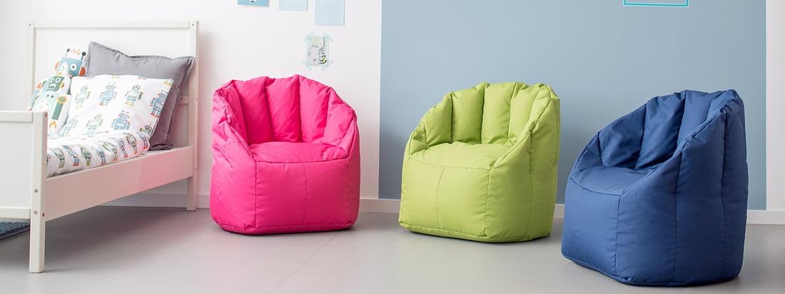 De mini Shell-fauteuil van Sitting Bull is verkrijgbaar in verschillende kleuren die geschikt zijn voor kinderen. De kinderzitzak is niet alleen een vrolijk kleurtje, maar dankzij de robuuste polytex stof is hij ook bijzonder gemakkelijk te reinigen - ideaal voor de kinderkamer.