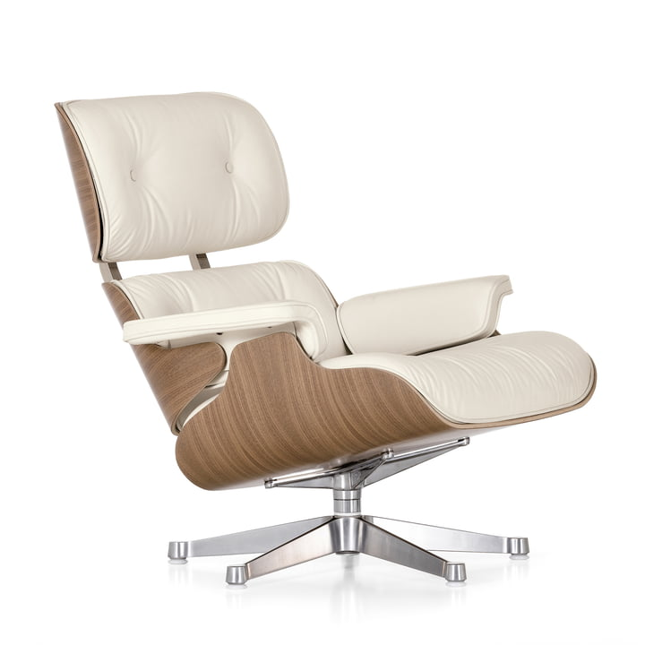 Vitra - Lounge Chair &Óttoman, wit/gepolijst, noten (klassiek)
