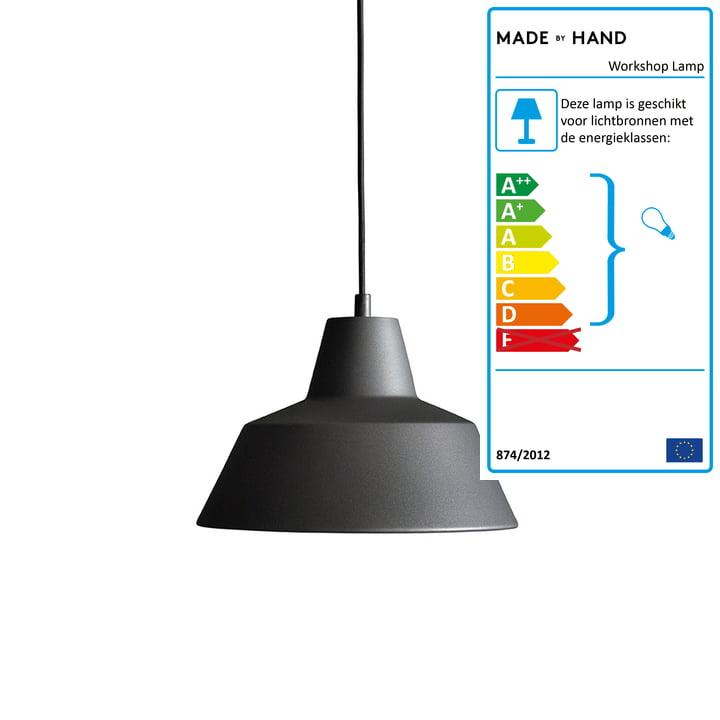 Met de hand gemaakt - Werkplaatslamp W2 in antraciet