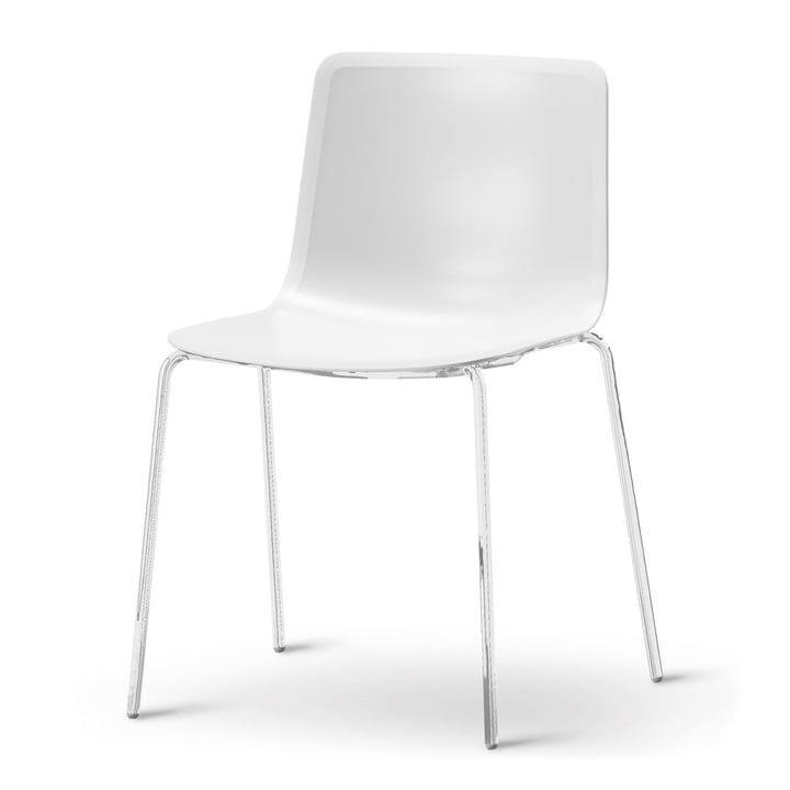 Pato 4 Leg Chair van Fredericia in wit/chroom