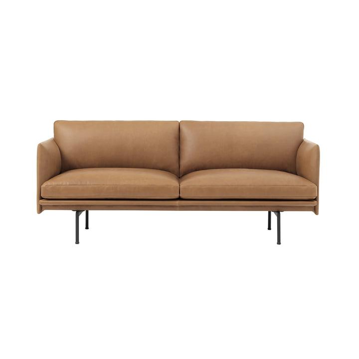 Outline Sofa 2-zits van Muuto in Cognac Silk Leather / Traffic black (RAL 9017)