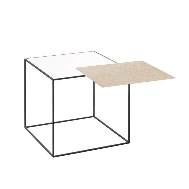door lassen - Tweeling 35 bijzettafel, zwart frame, wit/eiken