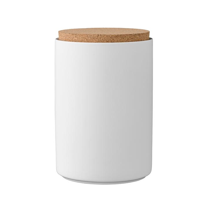 Opbergpot met kurkdeksel H16 cm van Bloomingville in wit