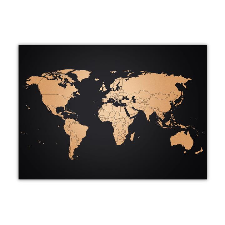 Geweldige kaarten - Wereldkaart, koper / zwart