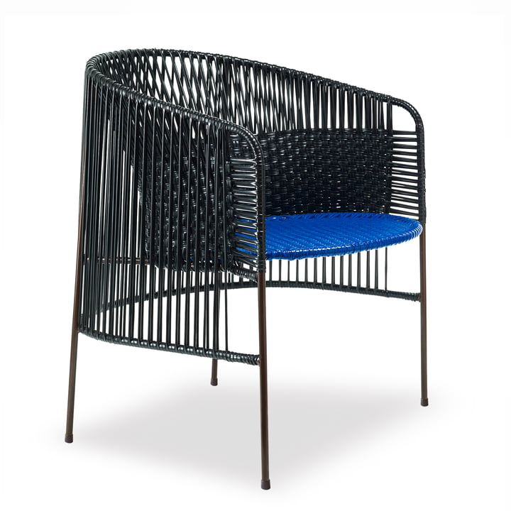 ames - caribe Lounge Chair, zwart / blauw / bruin