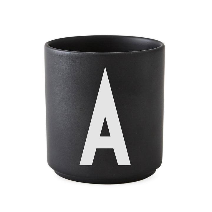 Ontwerpbrieven - AJ Porseleinen beker A, zwart