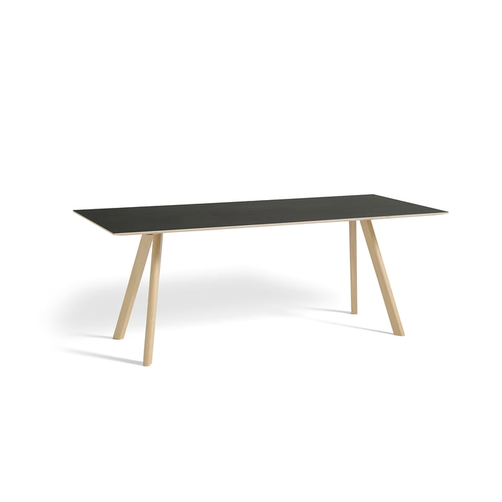 Hooi - Copenhague CPH30 Tafel 200 x 90 cm in mat gelakt eikenhout / zwarte linoleum