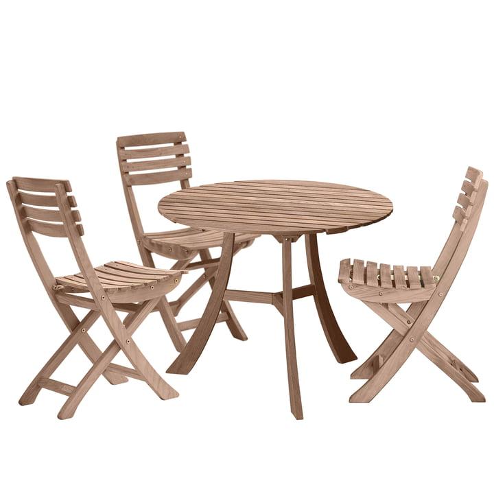 Skagerak - Vendia Set, teak (1 tafel en 3 stoelen)