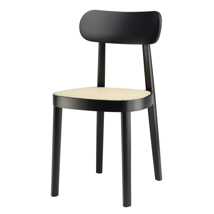 De 118 stoel, vlechtwerk met ondersteunend synthetisch gaas / zwart gebeitst beukenhout (TP 29) van Thonet