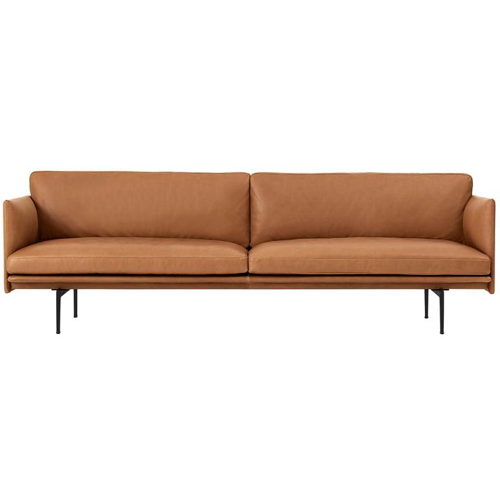 Outline Sofa 3-zits van Muuto in cognac Silk Leather / zwart (RAL 9017)