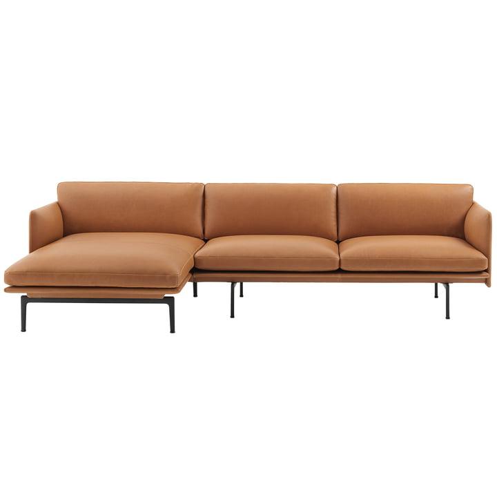 Muuto - Outline Sofa 3-zits met rechter chaise longue, cognac zijde leer / verkeerszwart (RAL 9017) (EU)