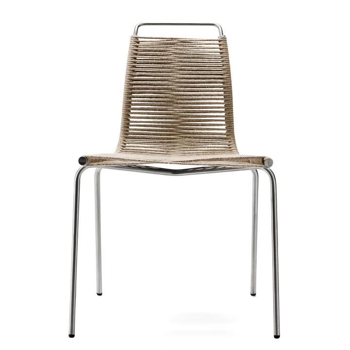 Carl Hansen - PK1 Binnenstoel, verchroomd staal / natuurlijke val