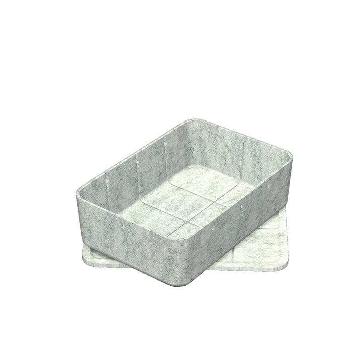 USM Haller - Inos Box met Tray, 22.3 x 32.2 cm, H 9,5 cm / lichtgrijs