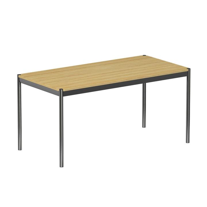 USM Haller - Tafel 150 x 75 cm, verchroomd stalen frame / gefineerd eiken tafelblad, natuurlijke afwerking