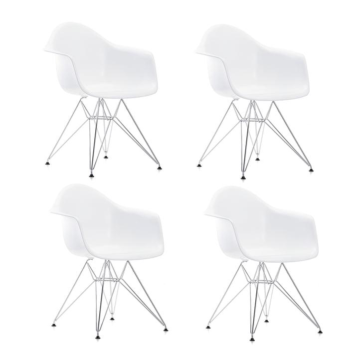 Speciale aanbieding: 4 x Eames Kunststof fauteuil DAR van Vitra in chroom / wit