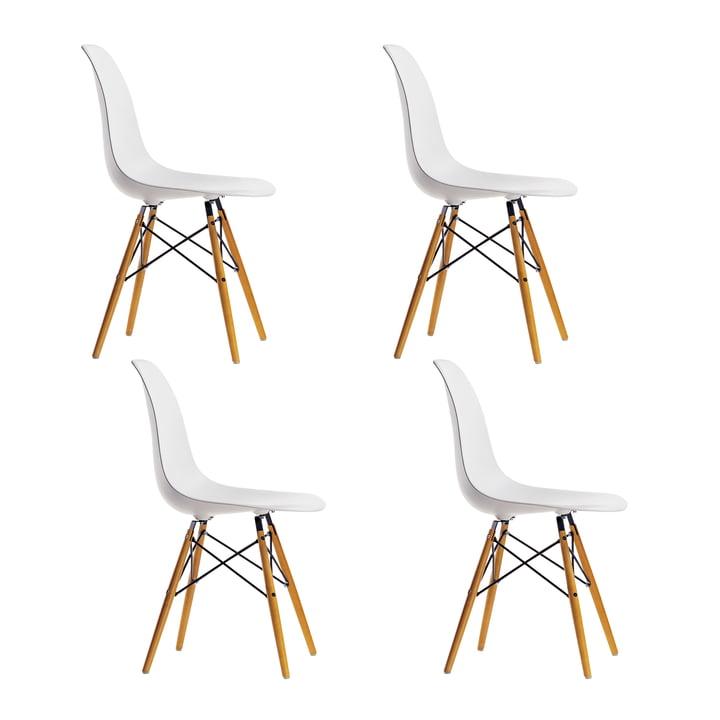 4 x Vitra - Eames Plastic Side Chair DSW (H 43 cm), geelachtig esdoorn / wit, wit vilt glijdoppen