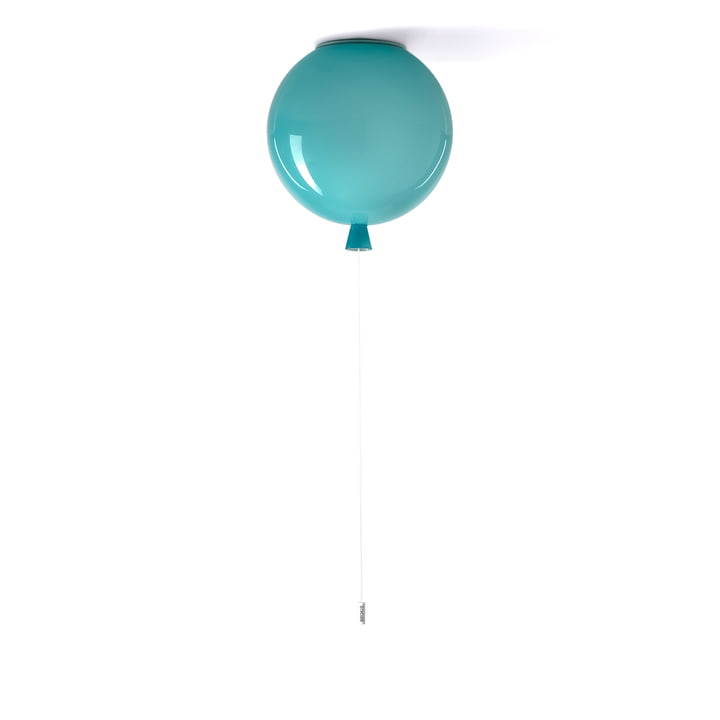 Geheugen plafondlamp van Brokis - Ø 30 x H 32,5 cm, turquoise / kabel wit