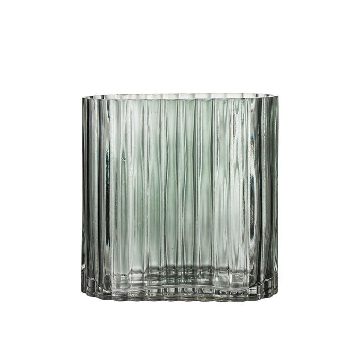 Riffel glazen vaas L 18 x H 18 x H 18 x D 9 cm van Bloomingville in groen