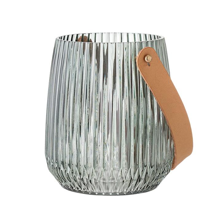 Glazen lantaarn met handvat Ø 13 x H 15 cm van Bloomingville in groen