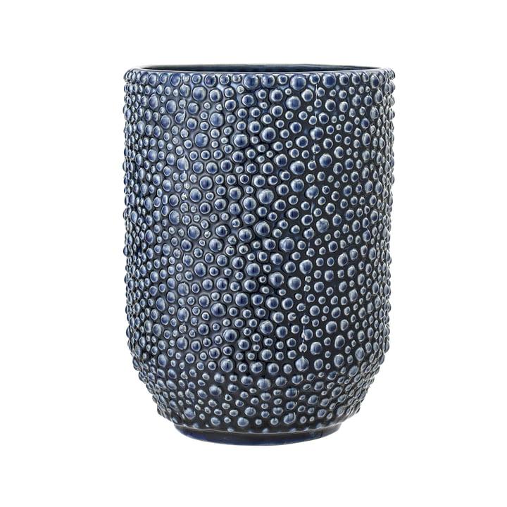 Blauwe aardewerken vaas van Bloomingville - Ø 14,5 x H 20,5 cm