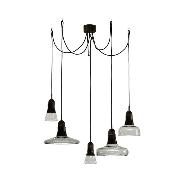 Schaduwen Set hanger licht vrijhangend aan Brokis in glasgrijs / eikenzwart / kabelzwart
