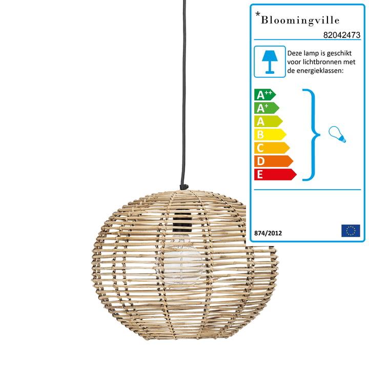 Rotan hanglamp van Bloomingville, Ø 38 x H 29 cm