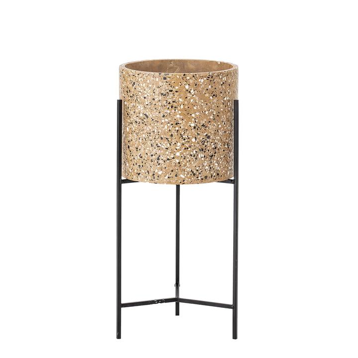 Plantenpot met frame van Bloomingville, Ø 23 x H 50 cm in beton / zwart