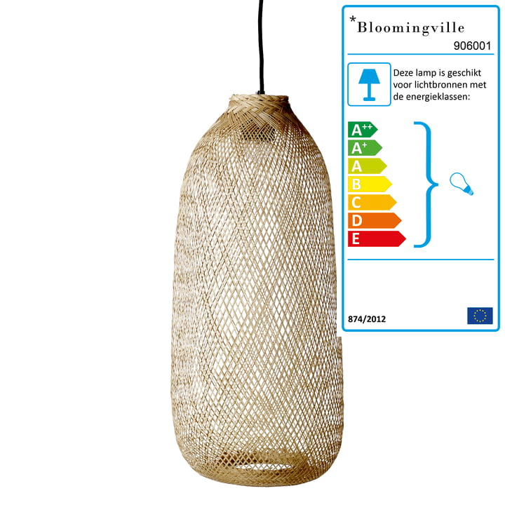 Bamboe hanglamp van Bloomingville, Ø 25 x H 65 cm