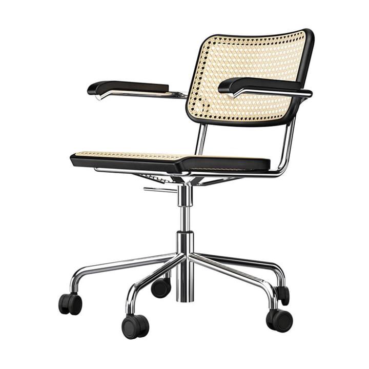 S 64 VDR Bureaustoel, chroom / beukenzwart gebeitst (TP 29) / rietengaas met kunststof steunstof van Thonet