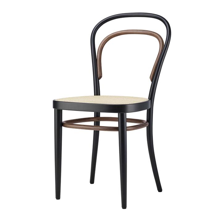 214 Gebogen houten stoel, riet geweven met kunststof steunstof / beuken tweekleurig zwart van Thonet