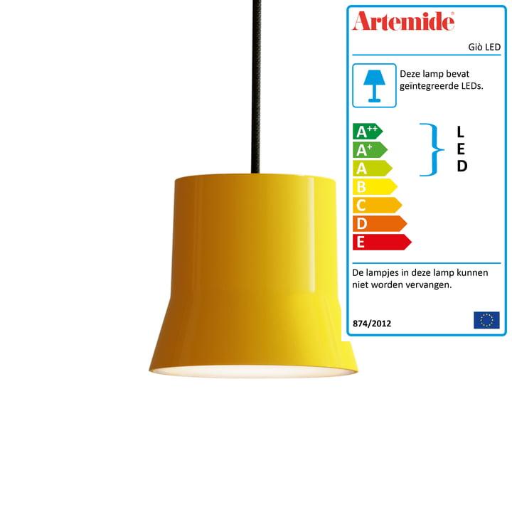 Giò LED pendelarmatuur van Artemide in geel