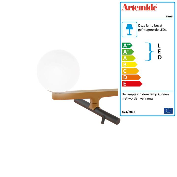 Yanzi LED tafellamp van Artemide in geborsteld messing/zwart