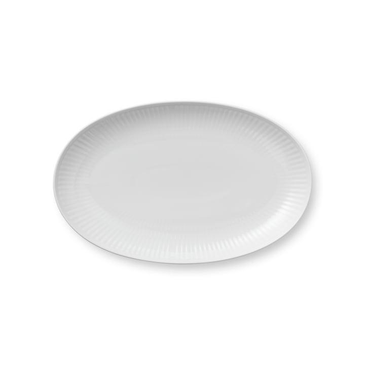 Witte geribbelde serveerschotel ovaal 23 cm van Royal Copenhagen